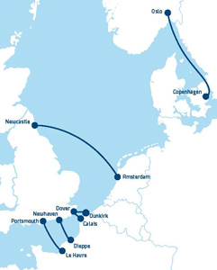 DFDS Seaways route map
